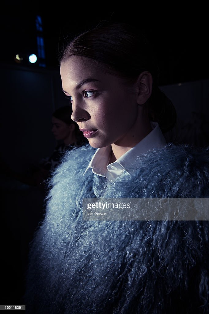 A model prepares backstage at the Enteley show during Mercedes-Benz Fashion Week Russia Fall/Winter 2013/2014 at Manege on March 30, 2013 in Moscow, Russia.
