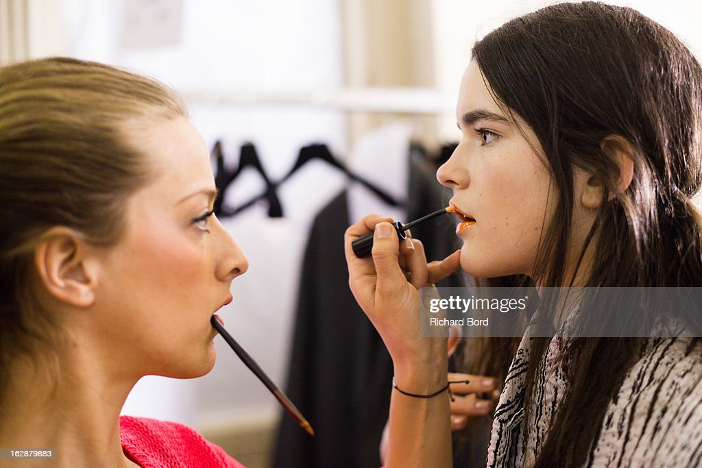 A model prepares backstage before the Christian Wijnants Fall/Winter 2013 Ready-to-Wear show as part of Paris Fashion Week on February 28, 2013 in Paris, France.