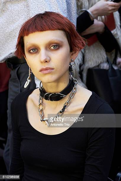 A model prepares backstage during the Alexander Wang show as a part of Fall 2016 New York Fashion Week at St Bartholomew's Church on February 13 2016...
