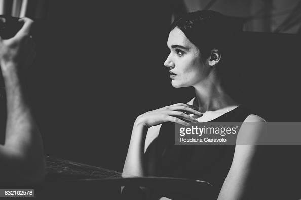 A model prepares backstage during the MercedesBenz Fashion Week Berlin A/W 2017 at Kaufhaus Jandorf on January 19 2017 in Berlin Germany