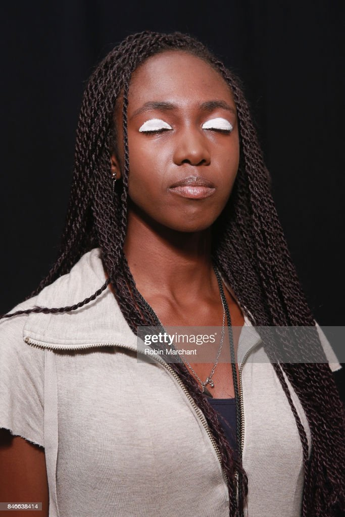 A model prepares backstage for the RISD fashion show during New York Fashion Week: The Shows at Gallery 1, Skylight Clarkson Sq on September 13, 2017 in New York City.