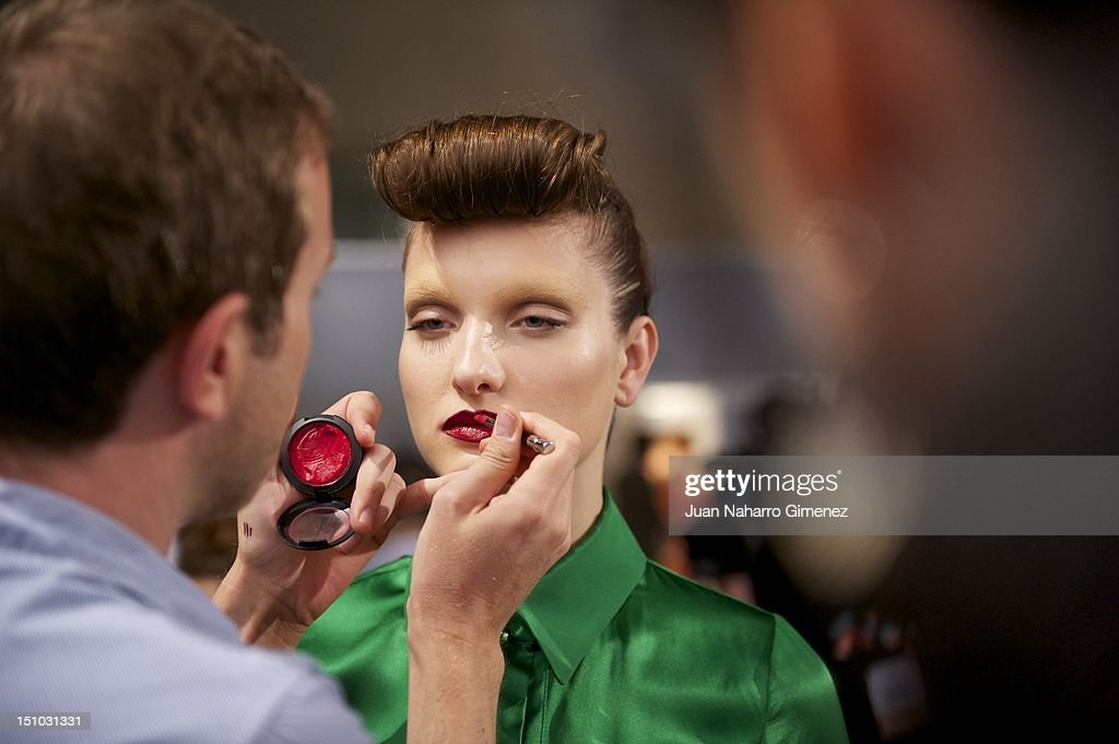 A model prepares backstage for the Roberto Verino show Cibeles Madrid Fashion Week Spring/Summer 2013 at Ifema on August 31, 2012 in Madrid, Spain.