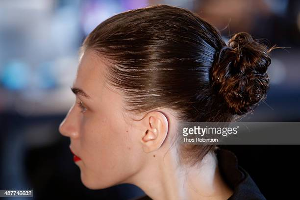 A model prepares backstage with Kerastase Paris at the Jason Wu S/S 2016 fashion show during Spring Studios on September 11 2015 in New York City