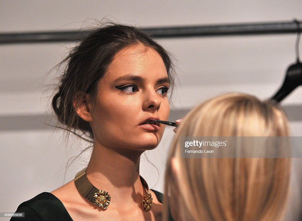 A model prepares for Jay Godfrey Fall 2016 during New York Fashion Week: The Shows at The Space, Skylight at Clarkson Square on February 11, 2016 in New York City.