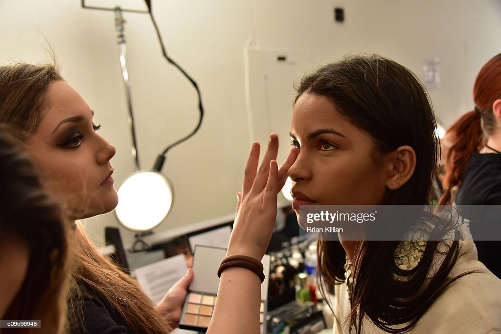 A model prepares for the start of the Marissa Webb Fall 2016 show during New York Fashion Week: The Shows at The Gallery, Skylight at Clarkson Sq on February 11, 2016 in New York City.
