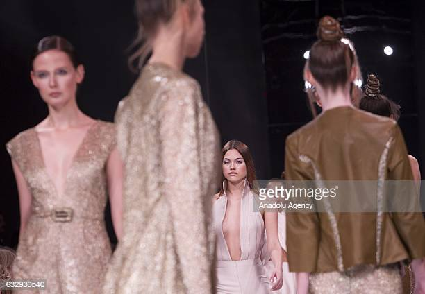 Model present a creation by the Italian fashion designer Sabrina Persechino's SpringSummer 2017 collection during the AltaRoma fashion show in Rome...