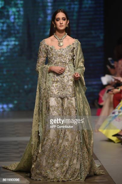 A model present a creation of a Pakistani designer Tabya Khan during the final day of the Pakistan Fashion Design Council LOreal Paris Bridal Week in...