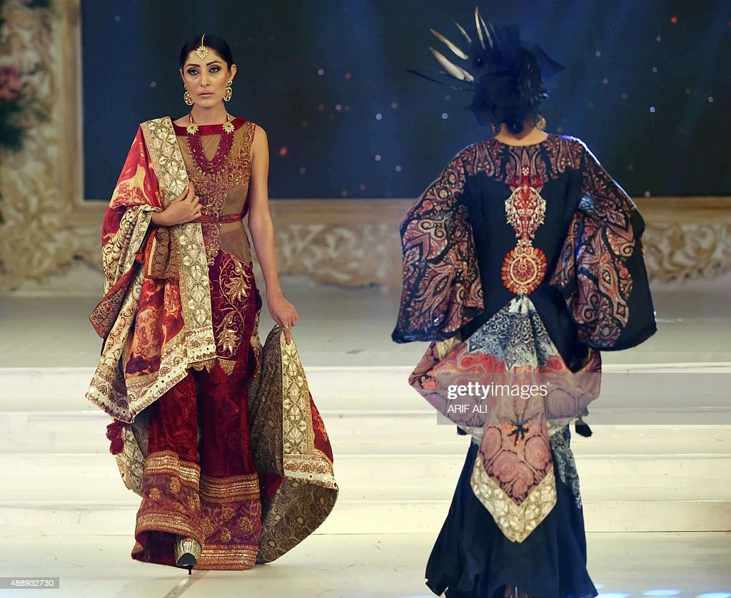 Model present creations by Pakistani designer Shamaeel Ansari on the final day of the Pakistan Fashion Design Council L'Oreal Paris Bridal Week in...