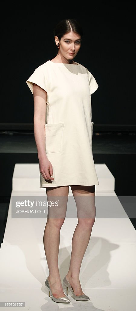 A model presents a creation by A RAY during Fashion Law Institute fashion show at the Mercedes-Benz Fashion Week Spring 2014 collections on September 6, 2013 in New York. AFP PHOTO/Joshua Lott