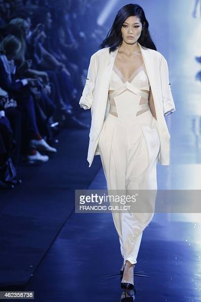 A model presents a creation by Alexandre Vauthier during the 2015 Haute Couture SpringSummer collection fashion show on January 27 2015 in Paris AFP...