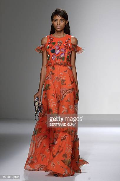 A model presents a creation by Andrew GN during the 2016 Spring/Summer readytowear collection fashion show on October 2 2015 in Paris AFP PHOTO /...