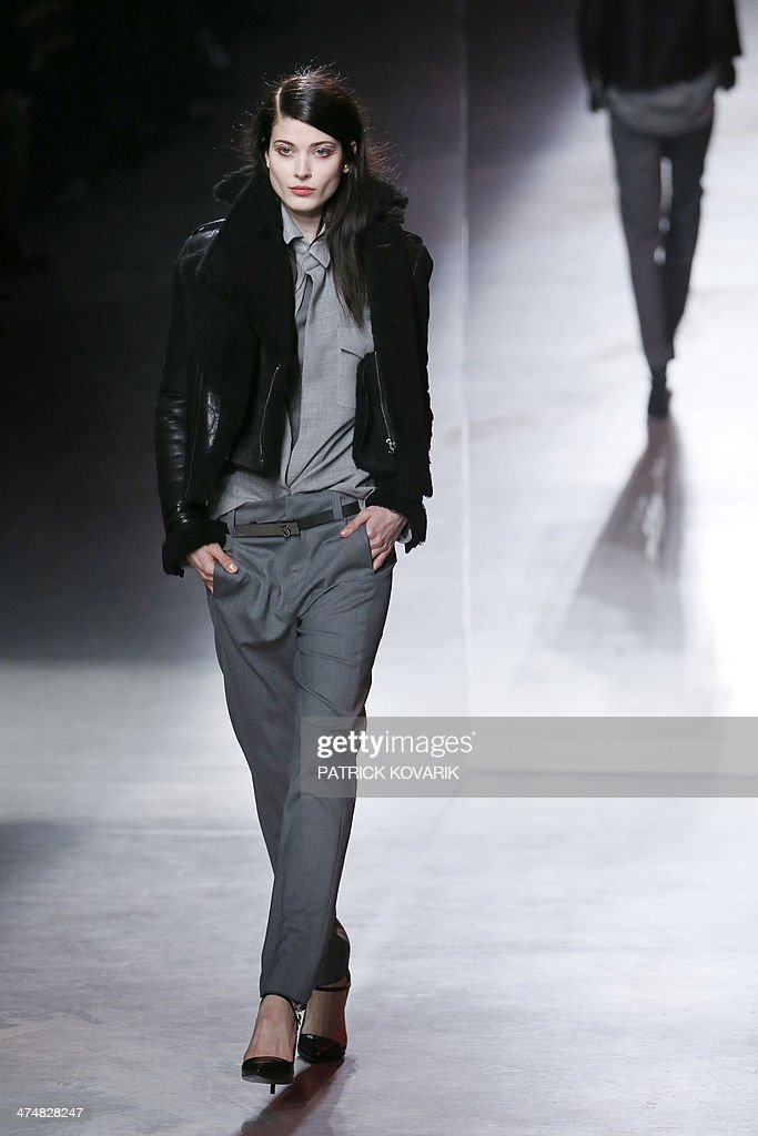 A model presents a creation by Anthony Vaccarello during the 2014 Autumn/Winter ready-to-wear collection fashion show, on February 25, 2014 in Paris.