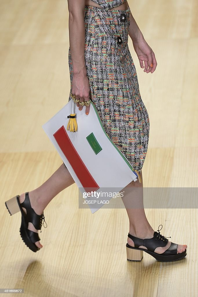 A model presents a creation by Brain&Beast during the 080 Barcelona Spring-Summer 2015 fashion week in Barcelona on July 3, 2014.