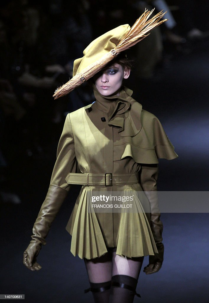 A model presents a creation by British designer Bill Gaytten for John Galliano during the Fall/Winter 2012-2013 ready-to-wear collection show, on March 4, 2012 in Paris.