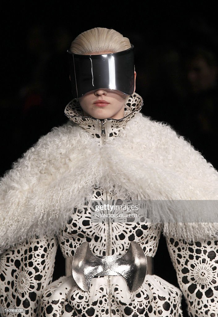 A model presents a creation by British fashion designer Sarah Burton for Alexander McQueen during the Fall/Winter 2012-2013 ready-to-wear collection show, on March 6, 2012 in Paris.