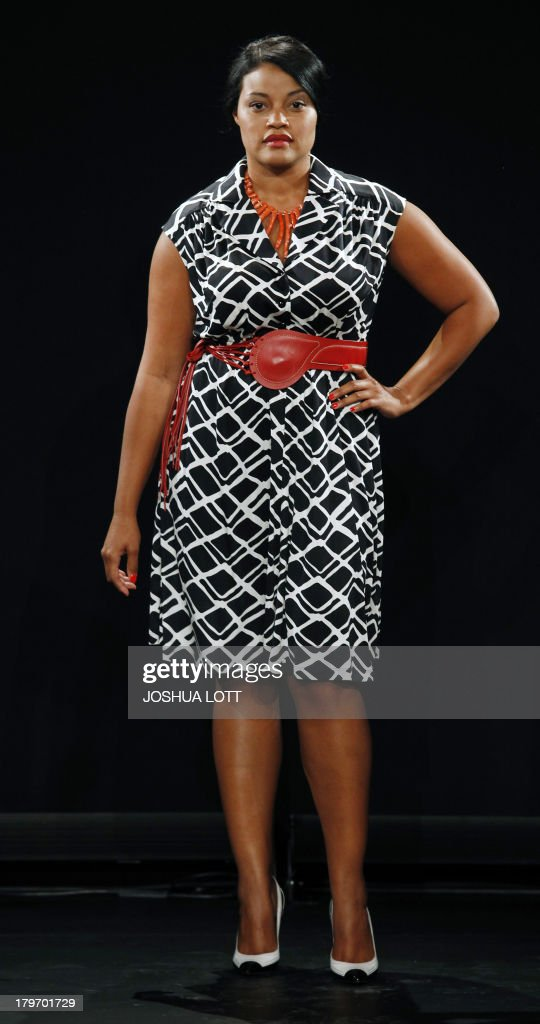 A model presents a creation by Cabiria during Fashion Law Institute fashion show at the Mercedes-Benz Fashion Week Spring 2014 collections on September 6, 2013 in New York. Designer Eden Miller's Cabiria line is the first plus-size fashion featured at Fashion Week. AFP PHOTO/Joshua Lott