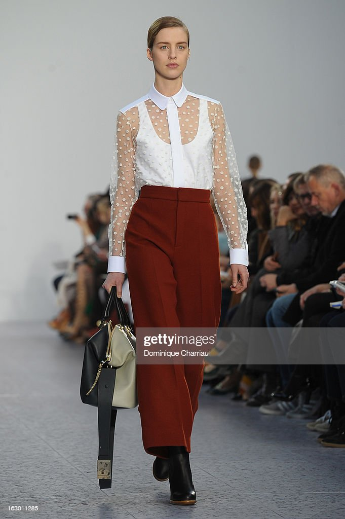 A model presents a creation by Chloe Fall/Winter 2013 Ready-to-Wear show as part of Paris Fashion Week on March 3, 2013 in Paris, France.