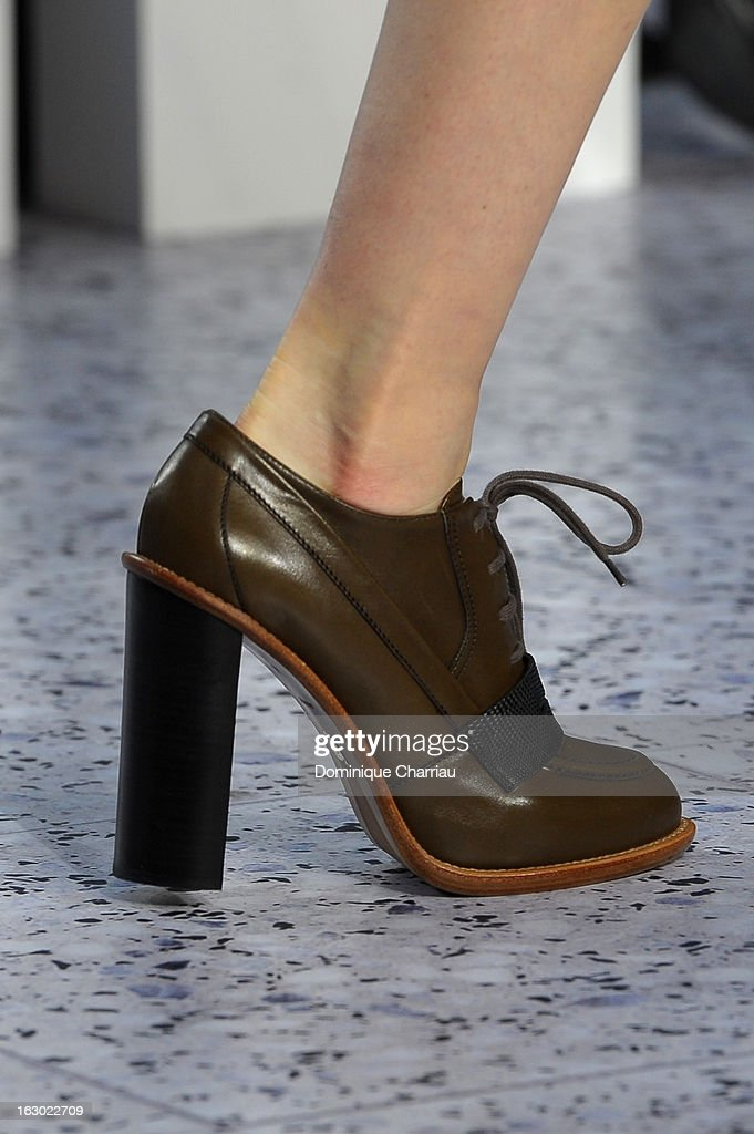 A model (shoe detail) presents a creation by Chloe Fall/Winter 2013 Ready-to-Wear show as part of Paris Fashion Week on March 3, 2013 in Paris, France.