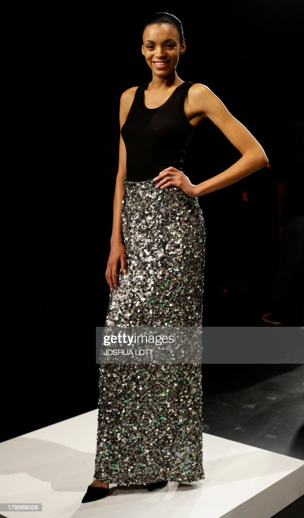 A model presents a creation by David Tlale during the Mercedes-Benz Fashion Week Spring 2014 collections on September 5, 2013 in New York. AFP PHOTO/Joshua Lott