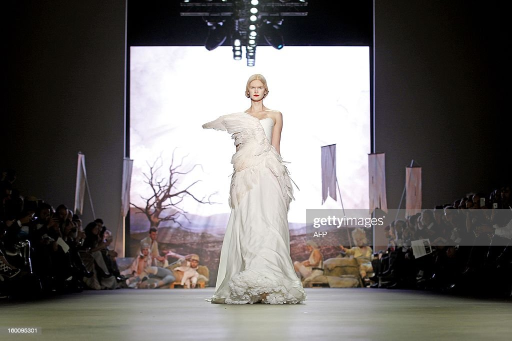 A model presents a creation by Dennis Diem during the 18th Amsterdam Fashion Week in Amsterdam, Netherlands, on January 26, 2013. The Fashion Week runs from 18 to 27 January. netherlands out
