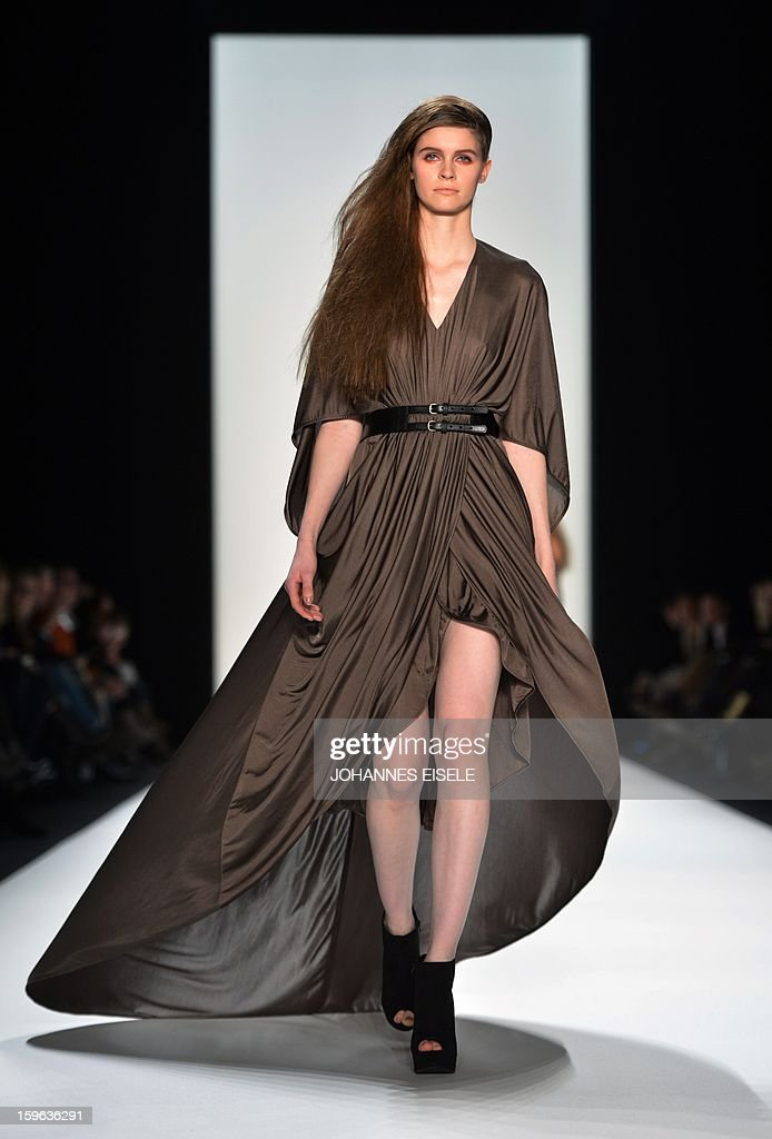 A model presents a creation by designer A degree Fahrenheit during the Autumn/Winter 2013 show of the Mercedes-Benz Fashion Week on January 17, 2013 in Berlin. The Berlin Fashion Week takes place from January 15 to 20, 2012.
