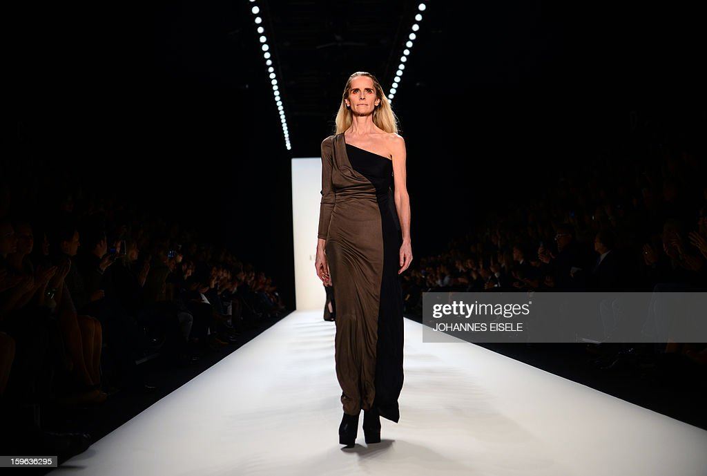 A model presents a creation by designer A degree Fahrenheit during the Autumn/Winter 2013 shows of the Mercedes-Benz Fashion Week on January 17, 2013 in Berlin. The Berlin Fashion Week takes place from January 15 to 20, 2013.
