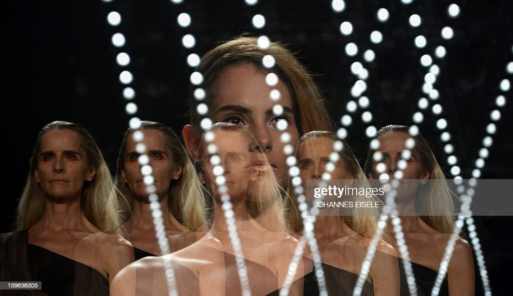 A model presents a creation by designer A degree Fahrenheit during the Autumn/Winter 2013 shows of the Mercedes-Benz Fashion Week on January 17, 2013 in Berlin. The Berlin Fashion Week takes place from January 15 to 20, 2012.