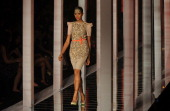 A model presents a creation by designer Namrata Joshipura on March 26 2013 during the grand Finale of Lakme Fashion Week summer/resort 2013 in Mumbai...