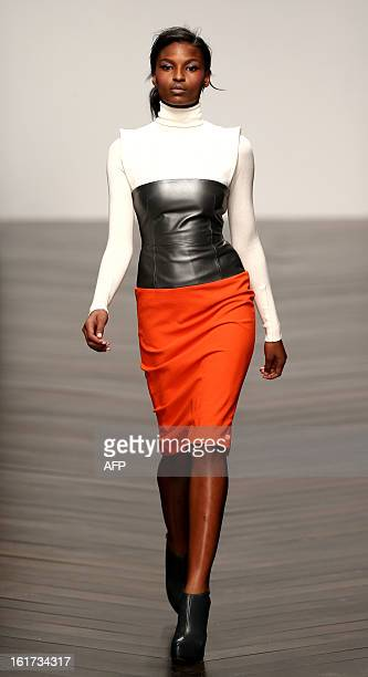 A model presents a creation by designer Zoe Jordan during the 2013 Autumn/Winter London Fashion Week in London on February 15 2013 AFP PHOTO/ANDREW...