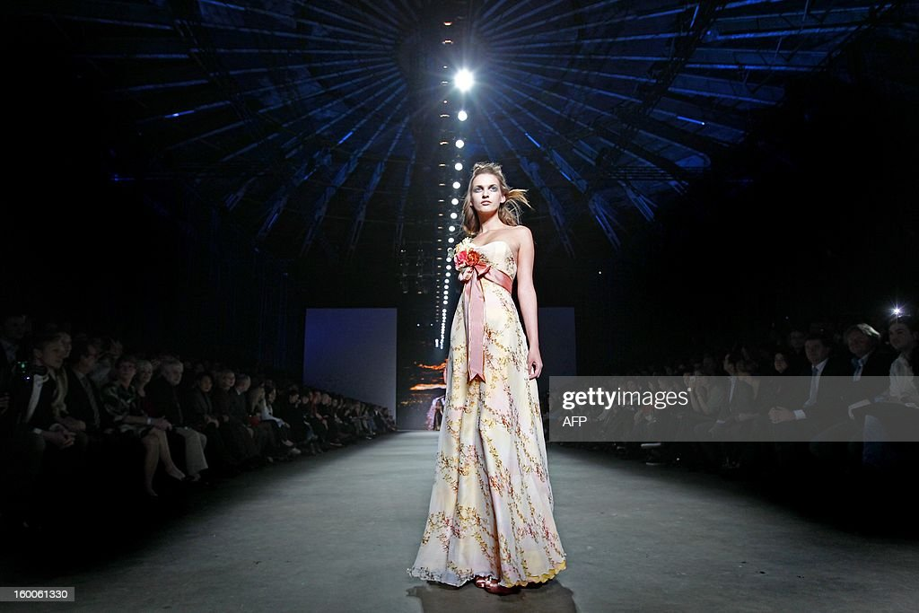 A model presents a creation by Edwin Oudshoorn during the 18th Amsterdam Fashion Week in Amsterdam, The Netherlands, on January 25, 2013. The Fashion Week runs from 18 to 27 January. netherlands out