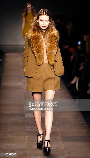 A model presents a creation by French designer Guillaume Henry for Carven during the Fall/Winter 20122013 readytowear collection show on March 1 2012...