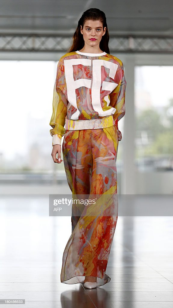 A model presents a creation by Fyodor Golan during the 2014 Spring/Summer London Fashion Week in London on September 13, 2013.