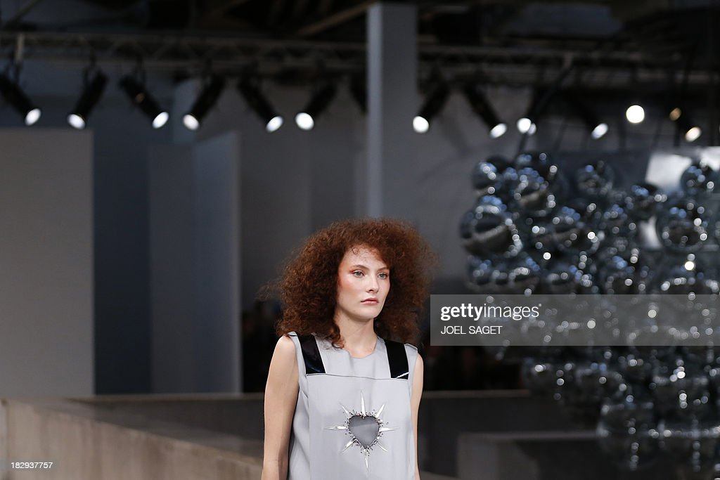 A model presents a creation by Gosia Baczynska during the 2014 Spring/Summer ready-to-wear collection fashion show, on October 2, 2013 in Paris.