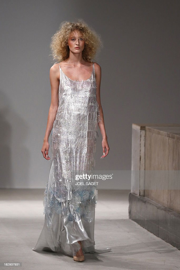 A model presents a creation by Gosia Baczynska during the 2014 Spring/Summer ready-to-wear collection fashion show, on October 2, 2013 in Paris. AFP PHOTO / JOEL SAGET