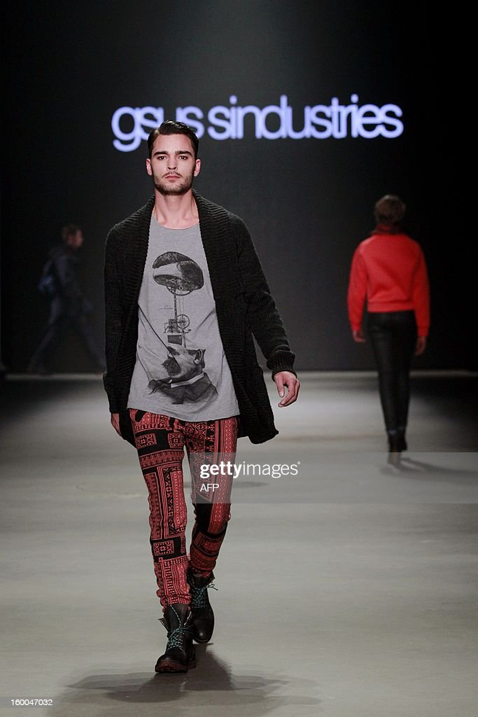 A model presents a creation by Gsus sindusties during the 18th edition of the Amsterdam Fashion Week in Amsterdam, on January , 25 January 2013. The Fashion Week runs from 18 to 27 January.