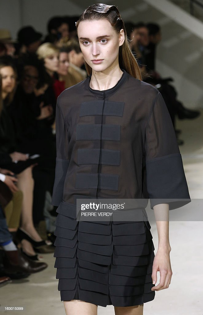 A model presents a creation by Hexa by Kuho during the Fall/Winter 2013-2014 ready-to-wear collection show, on March 3, 2013 in Paris.