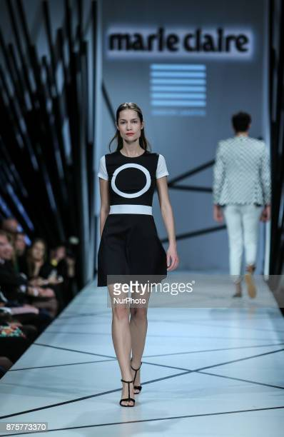 Model presents a creation by Hungarian designer Mode by Sandor Lakatos as part of Marie Claire Fashion Days 2017 on Nov 17 2017 at Várkert Bazár in...
