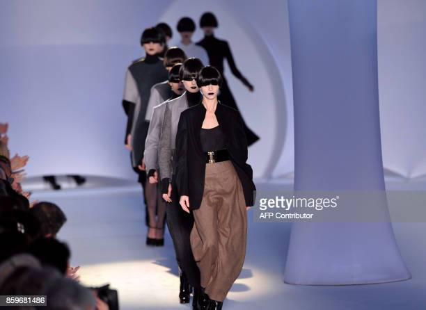 A model presents a creation by Italian designer Stefano Pilati for Yves Saint Laurent during the autumn/winter 20082009 readytowear collection show...