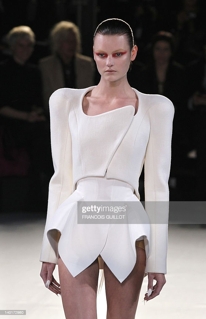 A model presents a creation by Japanese-Italian designer Nicola Formichetti and French designer Romain Kremer for Mugler during the Fall/Winter 2012-2013 ready-to-wear collection show, on February 29, 2012 in Paris.