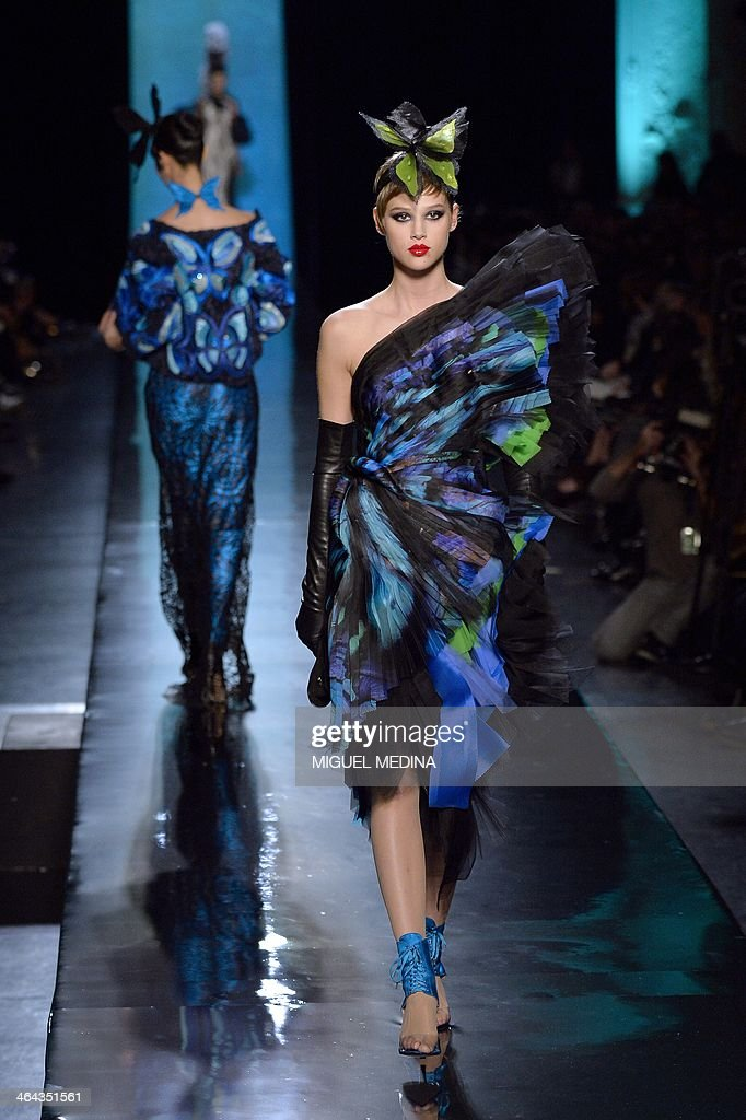 A model presents a creation by Jean Paul Gaultier during the Haute Couture SpringSummer 2014 collection show on January 22 2014 in Paris AFP PHOTO /...