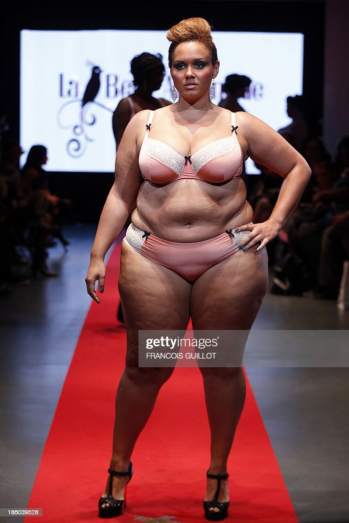 A model presents a creation by 'La belle affranchie' during the first Pulp fashion week, on October 27, 2013 in Paris.