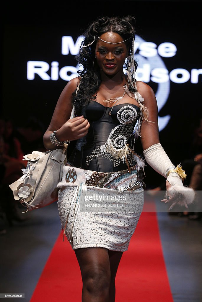 A model presents a creation by Maryse Richardson during the first Pulp fashion week, on October 27, 2013 in Paris.