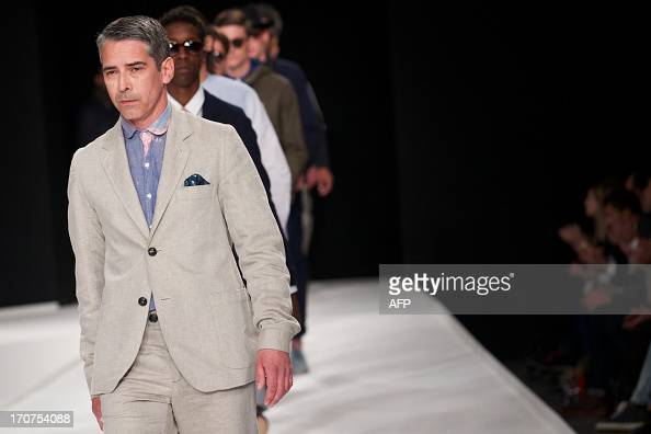 A model presents a creation by Oliver Spencer during the Spring/Summer 2014 London Collections Men fashion event in London on June 17 2013 AFP...