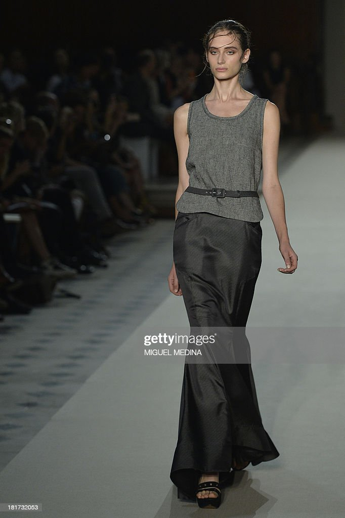 A model presents a creation by Pascal Millet during the 2014 Spring/Summer ready-to-wear collection fashion show, on September 24, 2013 in Paris.
