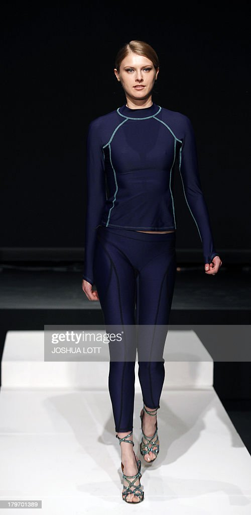 A model presents a creation by PHYN during THE Fashion Law Institute fashion show at the Mercedes-Benz Fashion Week Spring 2014 collections on September 6, 2013 in New York. AFP PHOTO/Joshua Lott