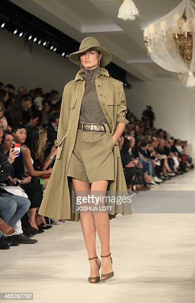 A model presents a creation by Ralph Lauren during the MercedesBenz Fashion Week Spring 2015 at The Pavilion of Lincoln Center in New York on...