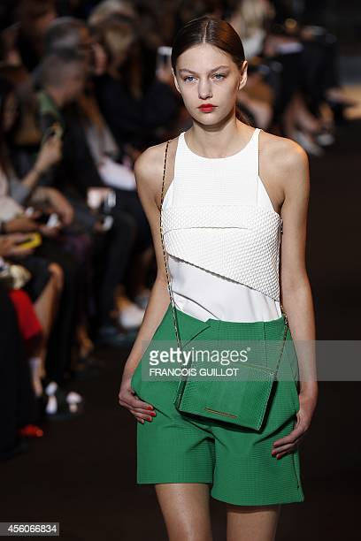 A model presents a creation by Roland Mouret during the 2015 Spring/Summer readytowear collection fashion show on September 25 2014 in Paris AFP...