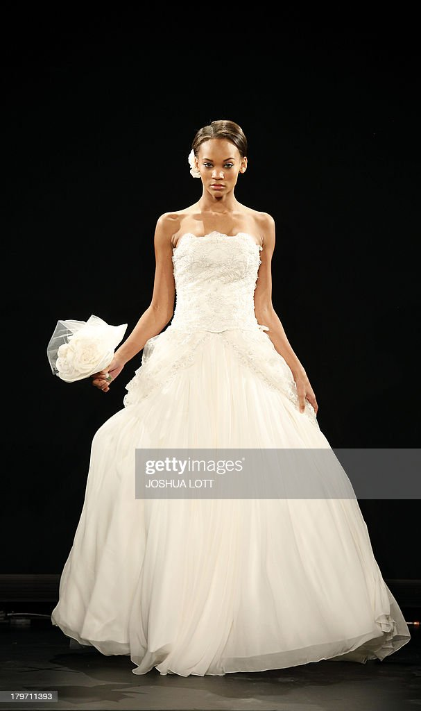 A model presents a creation by Sievering during the Fashion Law Institute fashion show at the Mercedes-Benz Fashion Week Spring 2014 collections on September 6, 2013 in New York. AFP PHOTO/Joshua Lott