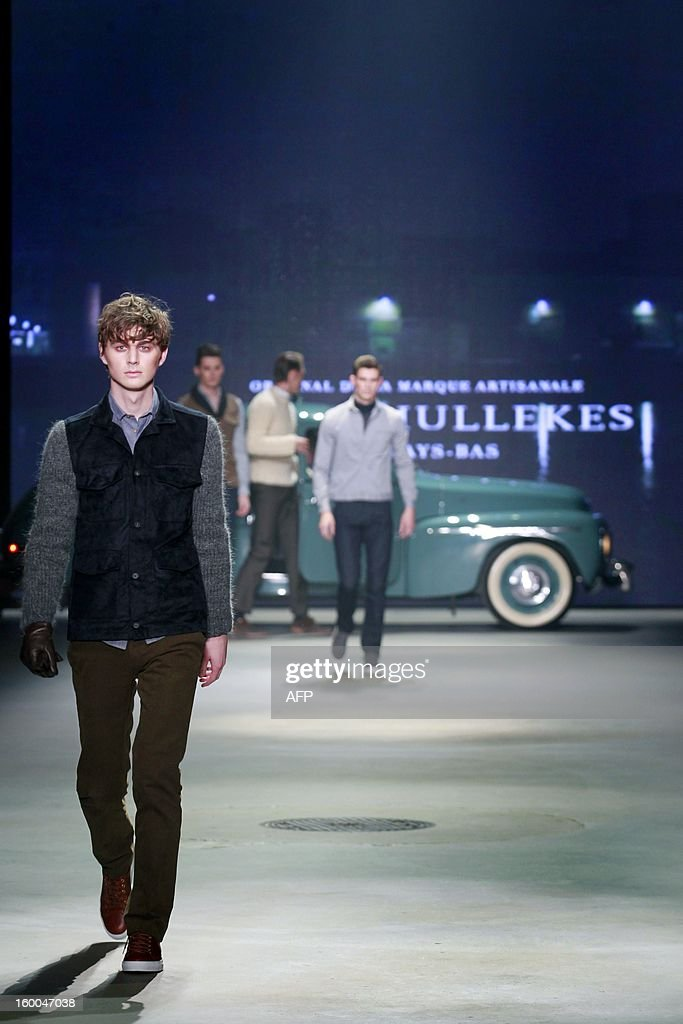 A model presents a creation by Sjaak Hulleke during the 18th edition of the Amsterdam Fashion Week in Amsterdam, on January , 25 January 2013. The Fashion Week runs from 18 to 27 January.