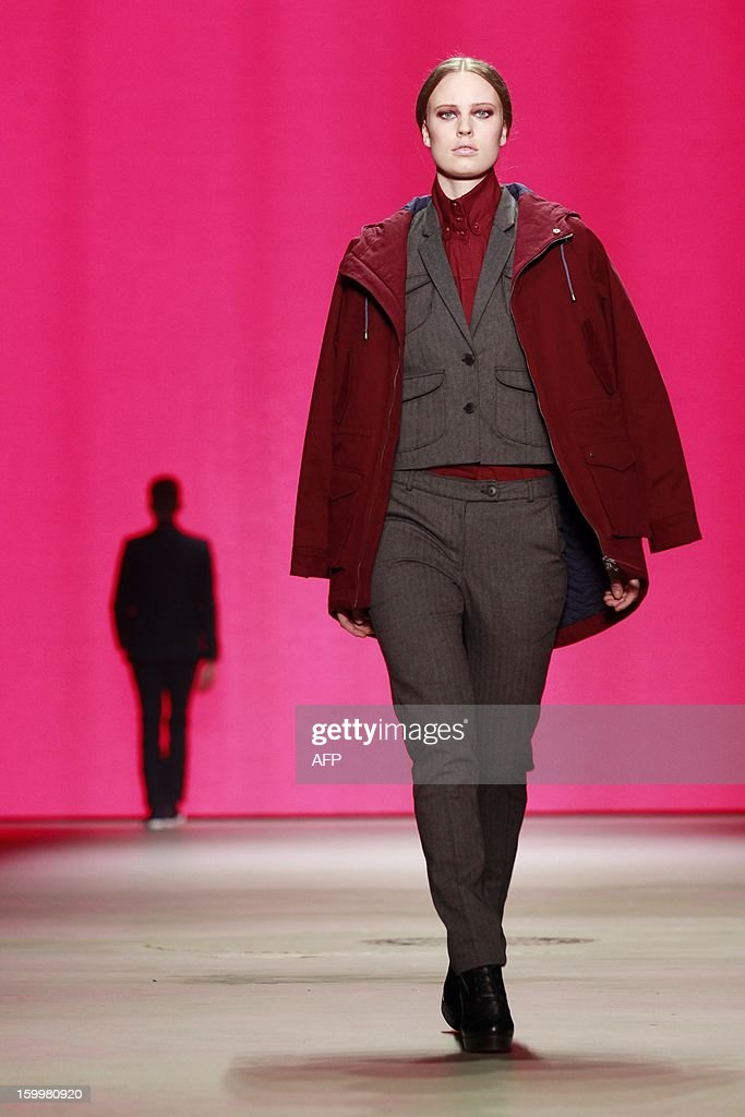 A model presents a creation by Studio JUX during the 18th Amsterdam Fashion Week in Amsterdam, The Netherlands, on January 24, 2013. The Fashion Week runs from 18 to 27 January. netherlands out